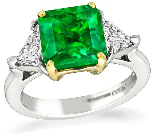 Square Cut Emerald Trilliant Cut Diamond 18k Yellow Gold Platinum Engagement Ring