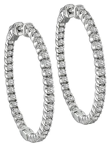 Round Cut Diamond 14k White Gold Inside Out Hoop Earrings