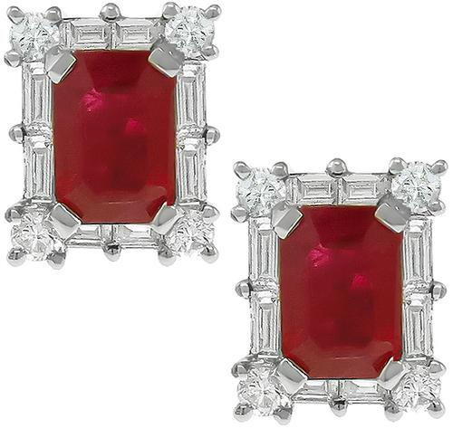 2.50ct Ruby 0.50ct Diamond Gold Earrings