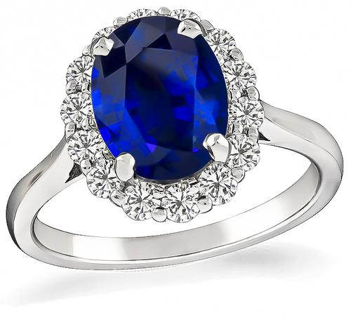 Oval Cut Sapphire Round Cut Diamond 18k Gold Engagement Ring