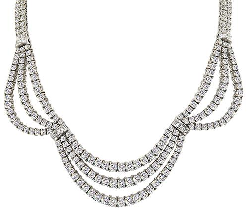 Round and Baguette Cut Diamond 18k White Gold Necklace