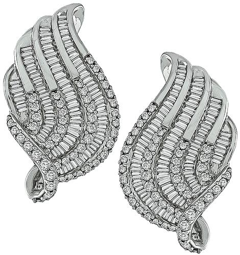 Round and Baguette Cut Diamond 18k White Gold Earrings