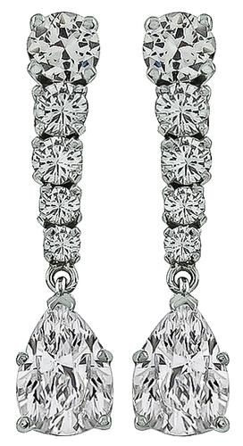 Pear and Round Cut Diamond 18k White Gold Drop Earrings