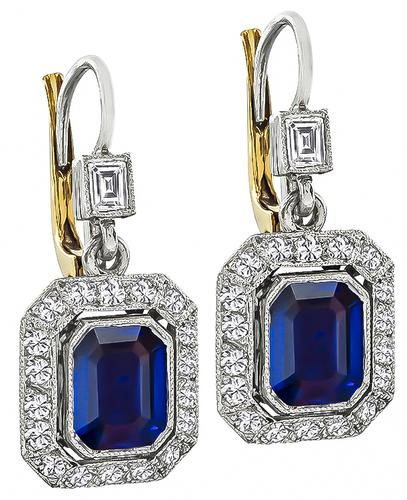 Emerald Cut Sapphire Round Cut Diamond Platinum Earrings