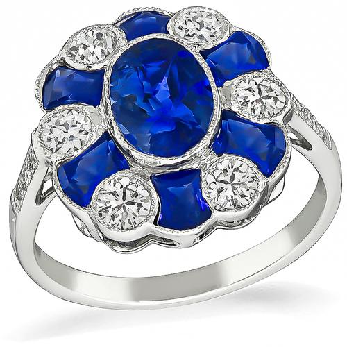 Oval and Faceted Cut Sapphire Round and Old Mine Cut Diamond 18k Gold Ring