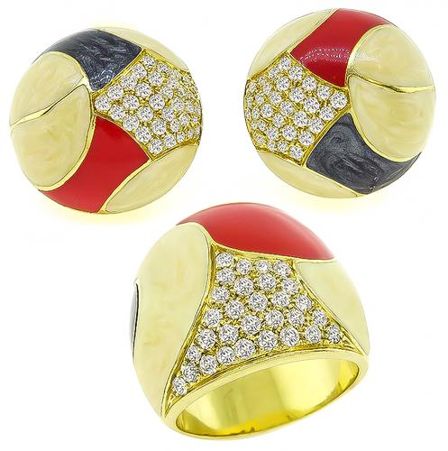 Round Cut Diamond Enamel 18k Yellow Gold Earrings and Ring Set