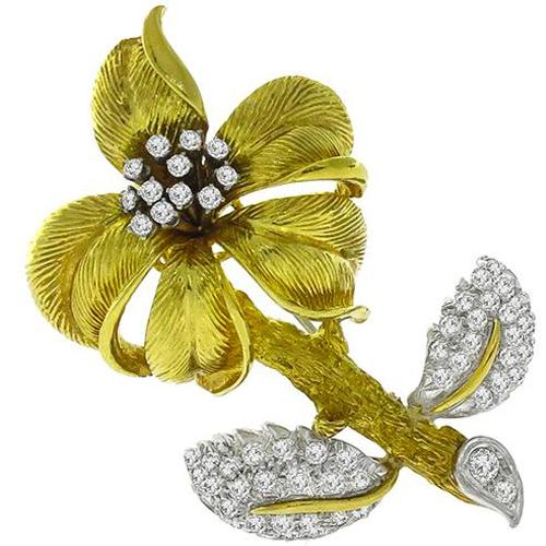 Diamond Gold Floral Pin