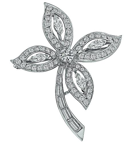 Round Marquise and Baguette Cut Diamond Platinum Flower Pin