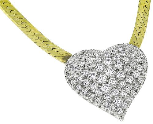 Round Cut Diamond 14k Yellow and White Gold Heart Pendant Necklace