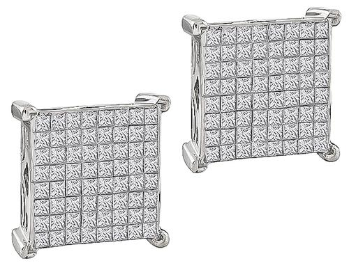 Invisible Set Princess Cut Diamond 10k White Gold Square Earrings