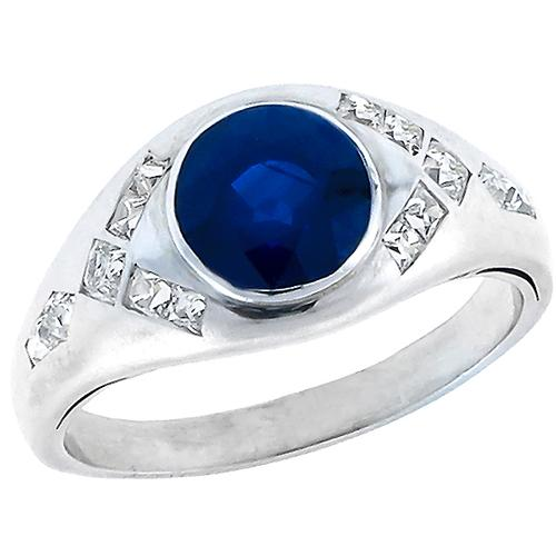 Vintage 3.00ct Round Cut  Sapphire 0.50ct French Cut Diamond Platinum Ring