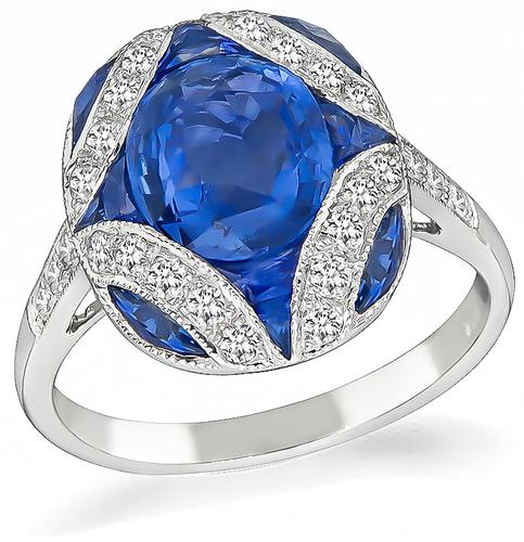 Cushion and Faceted Cut Sapphire Round Cut Diamond 18k Gold Ring