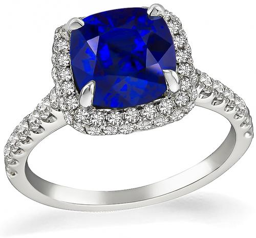 Cushion Cut Ceylon Sapphire Round Cut Diamond 18k White Gold Engagement Ring