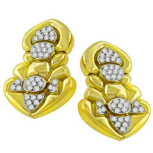 Diamond Gold Door Knocker Earrings
