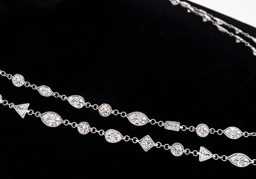 Platinum Diamond By The Yard Necklace