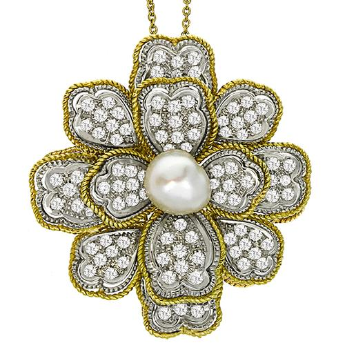Diamond & Pearl Gold Floral  Necklace