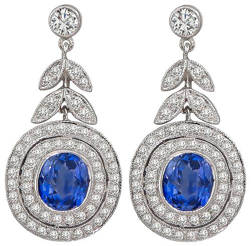 Cushion Cut Sapphire Round Cut Diamond 18k Gold Earrings