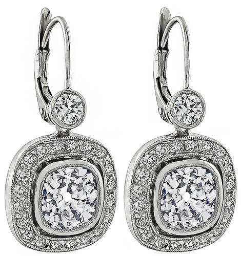 3.57ct Old Mine Cut Center Diamond 1.00ct Side Diamond Platinum Earrings