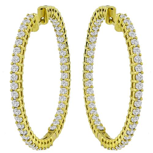 Inside Out Diamond  Gold  Hoop Earrings