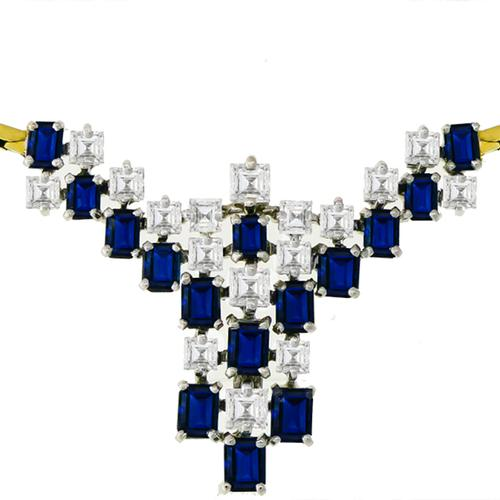 3.75ct Sapphire 2.75ct Diamond Gold Necklace