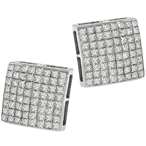3.85ct Diamond Gold Square Stud Earrings
