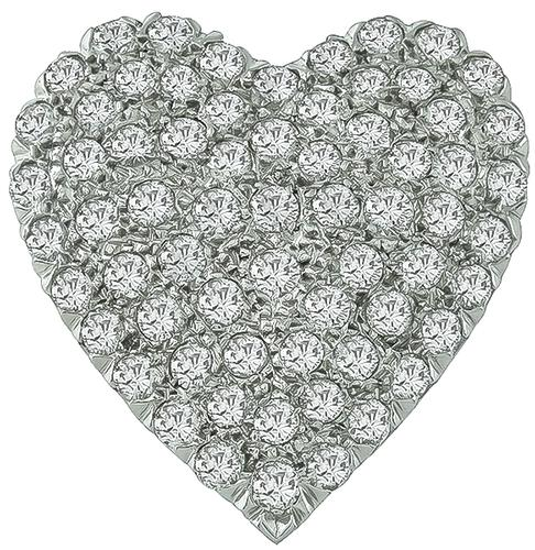Round Cut Diamond 14k White Gold Heart Pin / Pendant