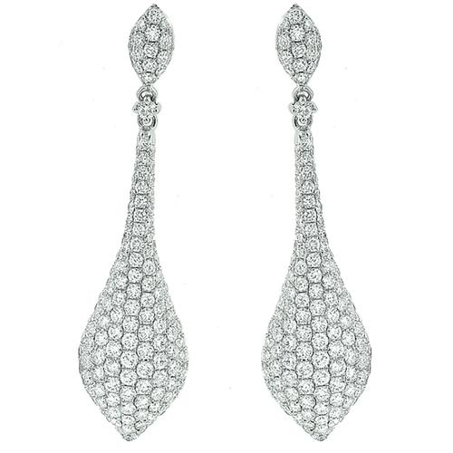 Vintage 4.50ct Round Cut  Diamond 18k White Gold Chandelier Earrings