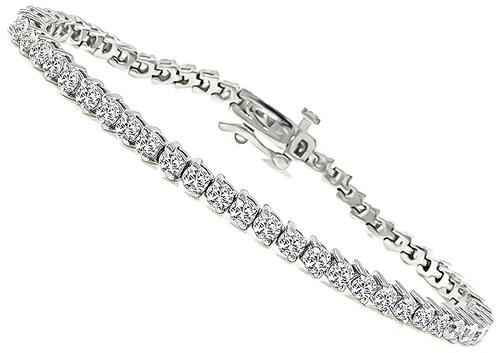 Round Cut Diamond 18k White Gold Tennis Bracelet