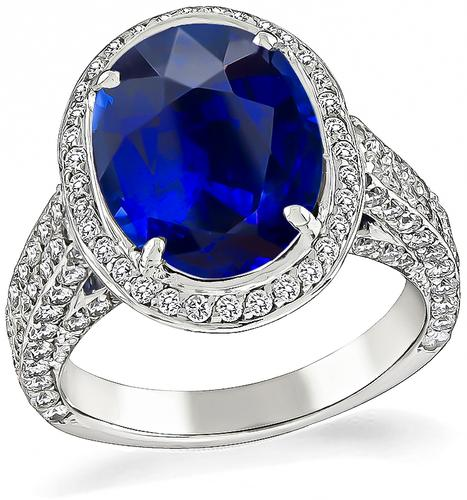 Oval Cut Ceylon Sapphire Round Cut Diamond 18k Gold Engagement Ring