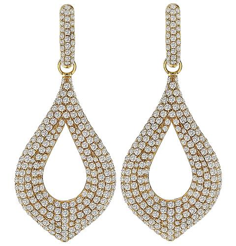 Round Cut Diamond 18k Rose Gold Night and Day Earrings