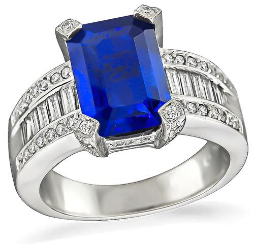 Emerald Cut Sapphire Baguette and Round Cut Diamond 14k Gold Ring