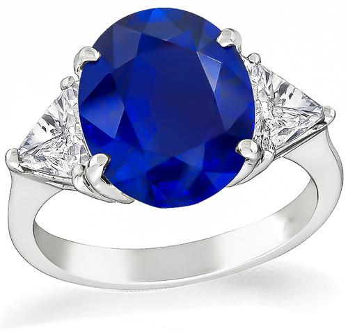 Oval Cut Sapphire Trilliant Cut Diamond Platinum Engagement Ring