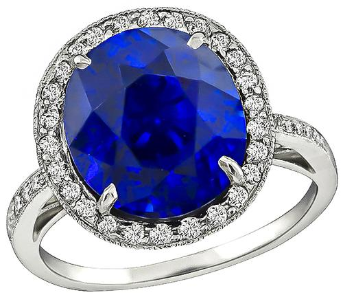 Cushion Cut Ceylon Sapphire Round Cut Diamond Platinum Ring