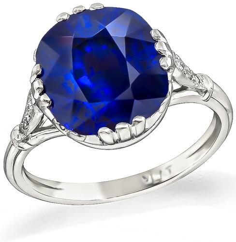 Cushion Cut Sapphire Platinum Engagement Ring