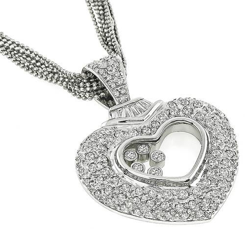 Chopard Style Round and Baguette Cut Diamond 18k Gold Heart Pendant Necklace