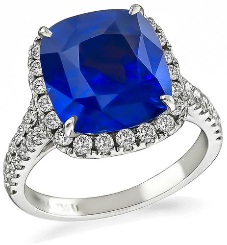 Cushion Cut Sapphire Round Cut Diamond 18k Gold Engagement Ring