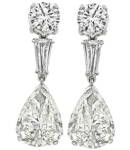 6.01ct Pear Shape Diamond 2.00ct Round and Baguette Cut Diamond Platinum Drop Earrings