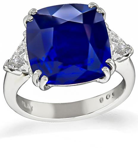 Cushion Cut Sapphire Trilliant Cut Diamond Platinum Engagement Ring