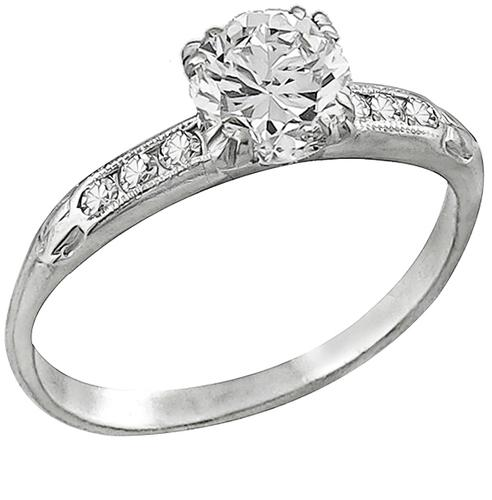Diamond Platinum Engagement Ring and Wedding Band Set