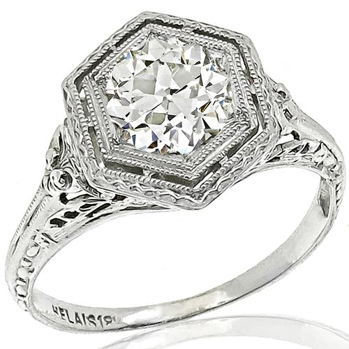 Antique GIA Diamond 18k White Gold Engagement Ring