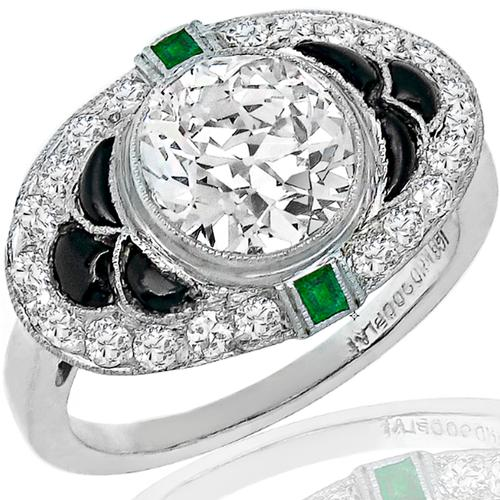 Antique GIA Diamond Onyx Emerald Platinum Ring