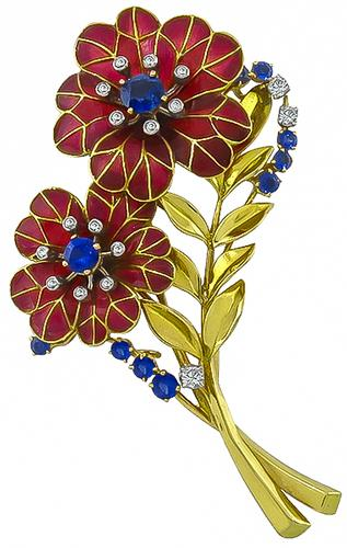 Round Cut Sapphire Diamond Enamel 18k Yellow Gold Flower Pin by Boucheron