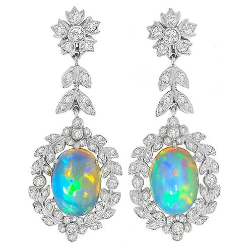 Opal Diamond Dangling Earrings