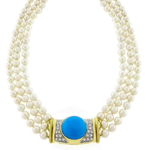 Turquoise Diamond Pearl Gold Necklace
