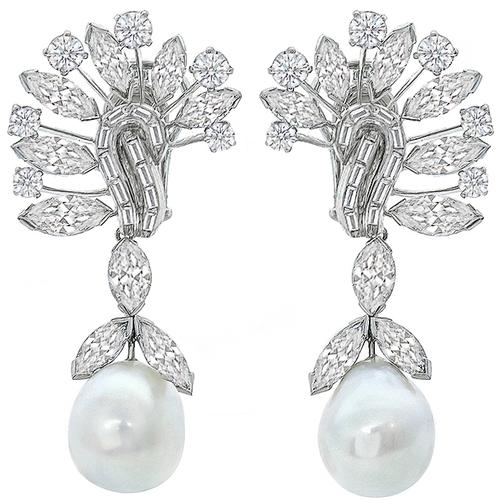 David Webb Diamond Pearl Chandelier Earrings