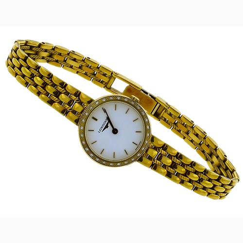 Vintage Diamond 18k Yellow Gold Longines  Ladies  Watch
