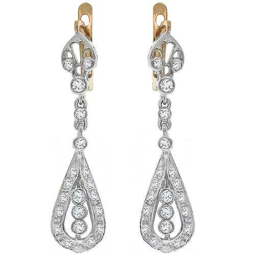 Antique 1.00ct Diamond Drop Earrings