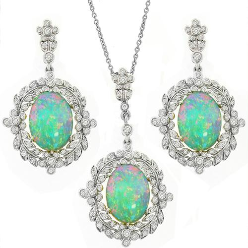 Opal Diamond Gold Earrings & Pendant Set
