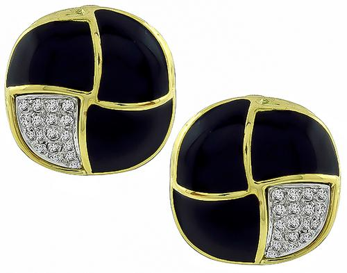 Round Cut Diamond Enamel 18k Yellow and White Gold Earrings
