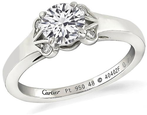 Cartier Round Brilliant Cut Diamond Platinum Engagement Ring